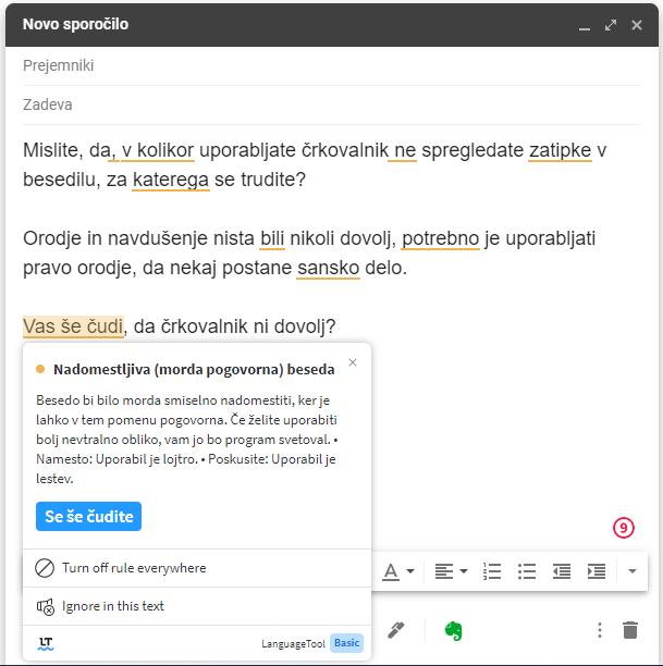 Sprotno odpravljanje slovničnih napak z Besano v Gmailu.